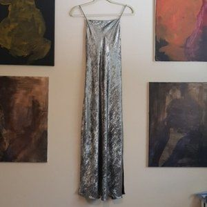 Zara TRF brushed silver crossback slipdress